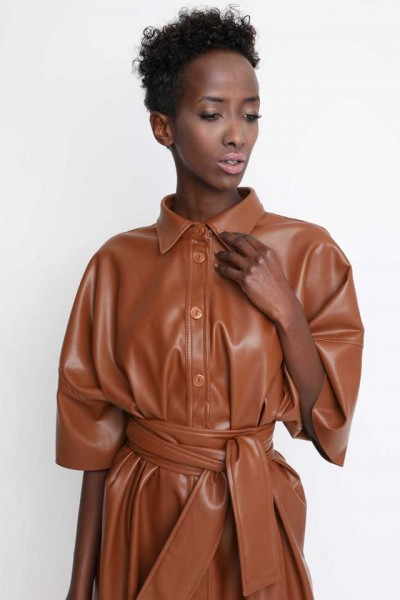 Jaena leatherette shirt